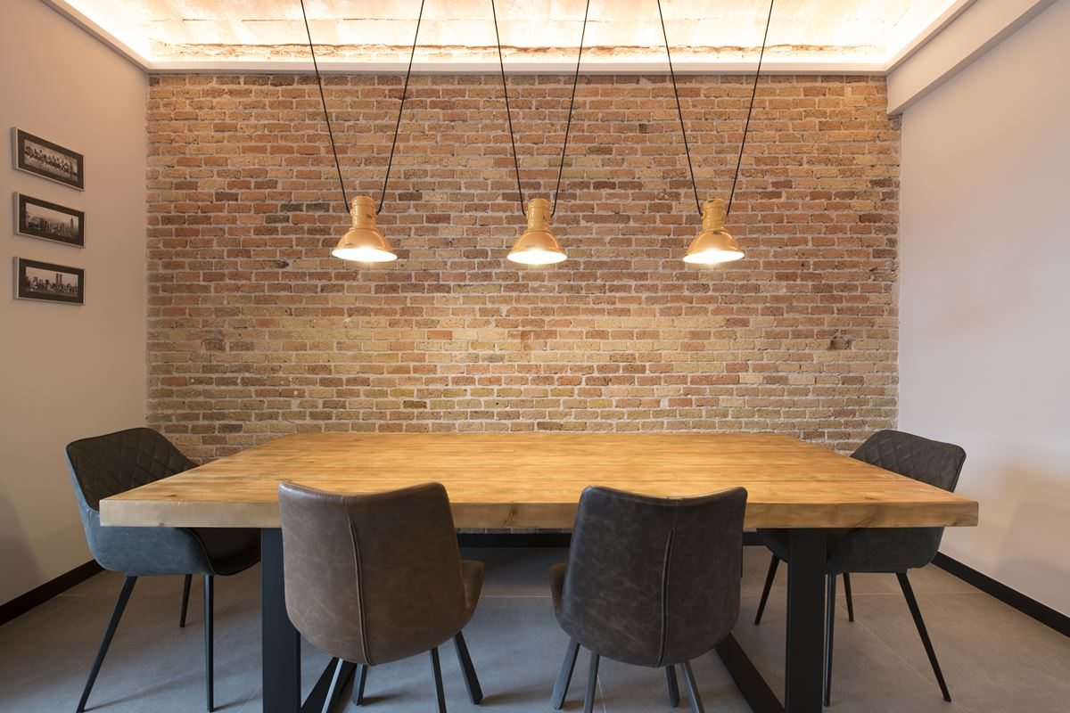 Industrial style dining area