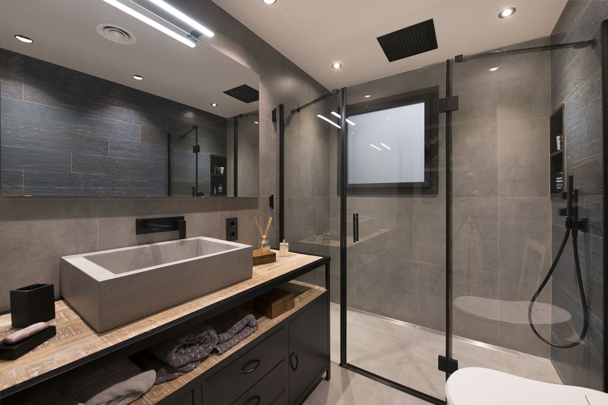 Modern bathroom with glass enclosure