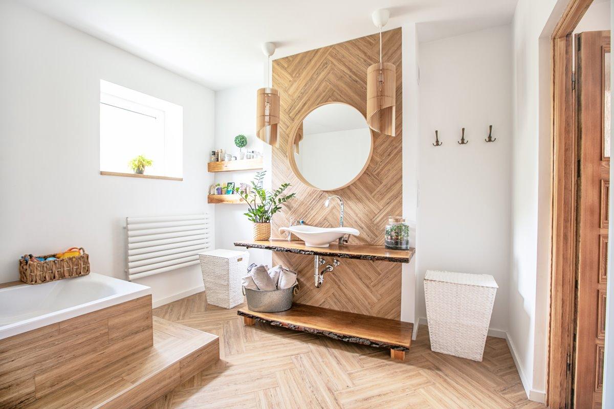 Modern wooden bathroom