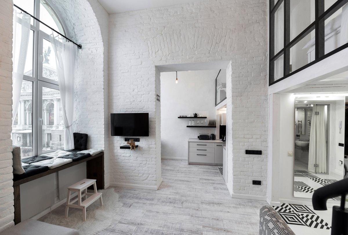 Painted white bricks