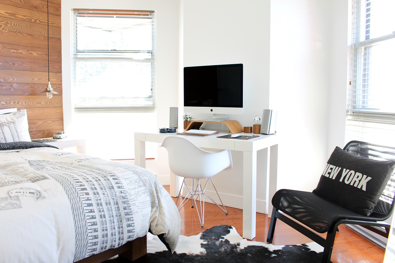 Work space in a bedroom
