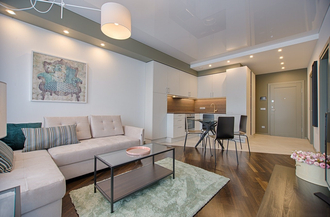 Modern open plan apartment layout with rug