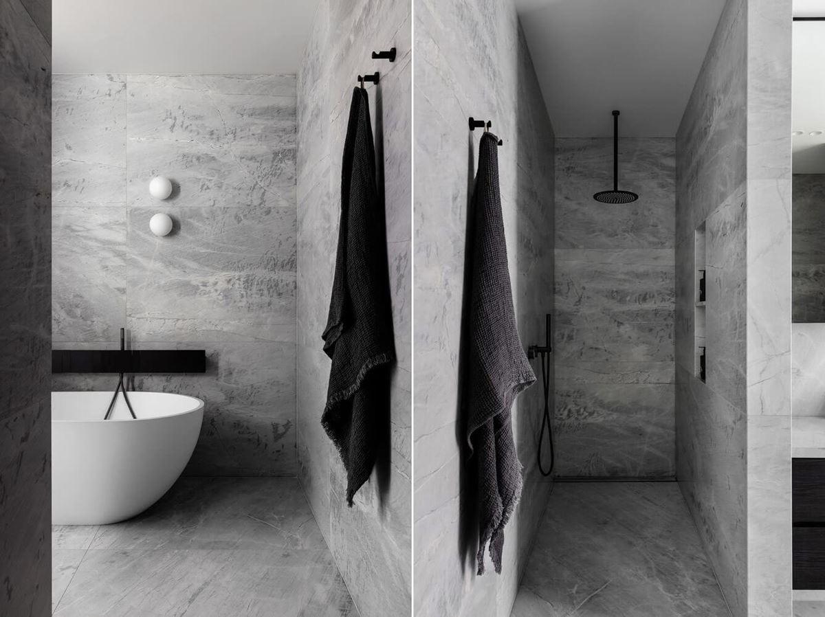 Scalpellino House - grey bathroom