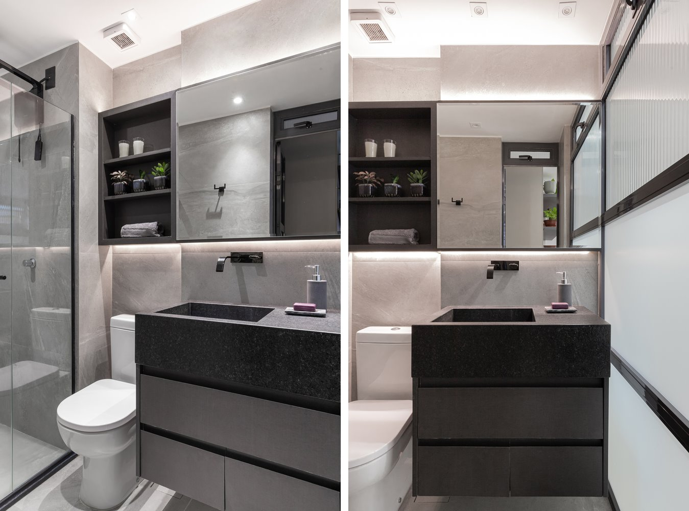 Modern small bathroom in gray