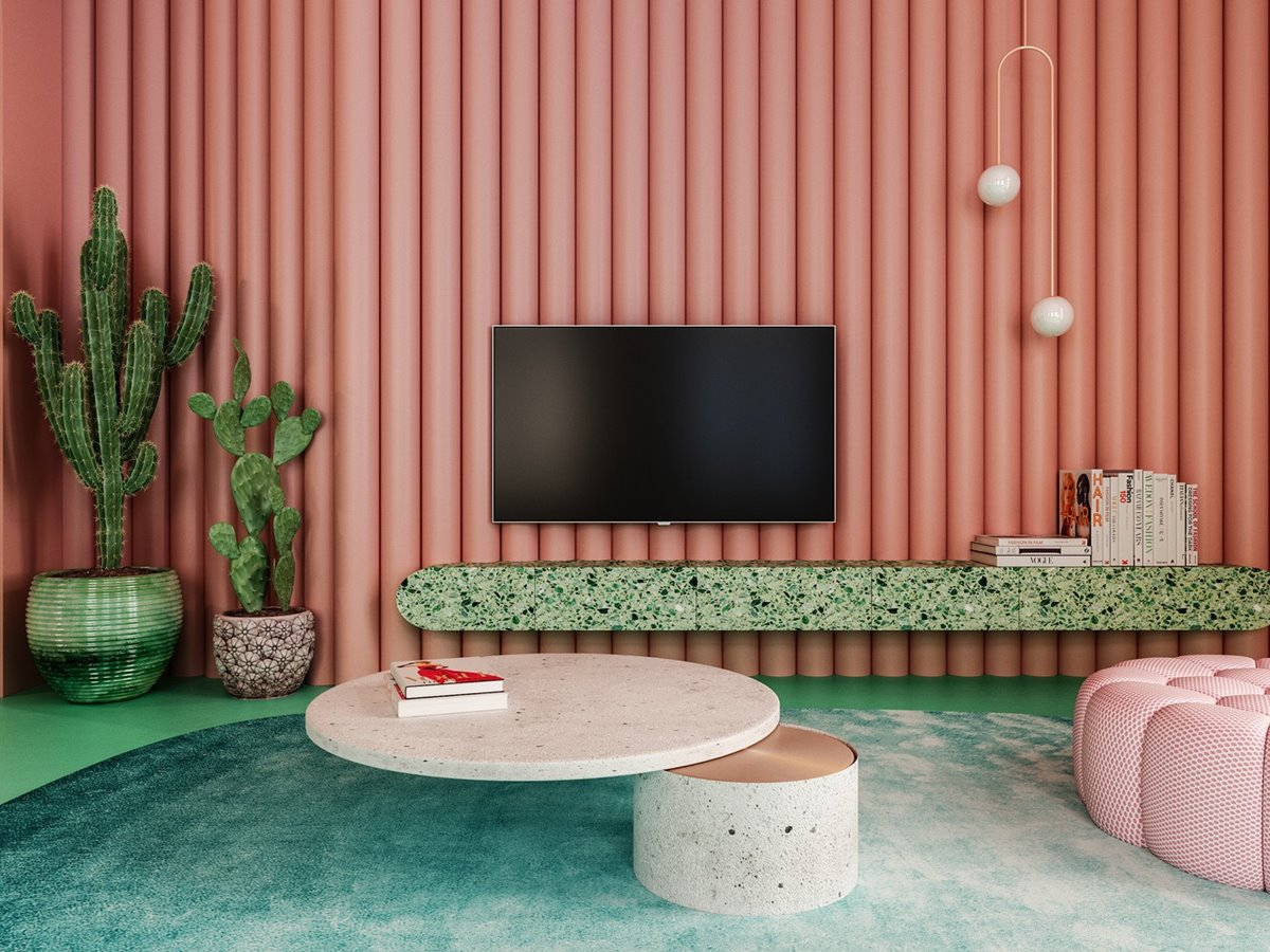 Unique Pink and Green Interior
