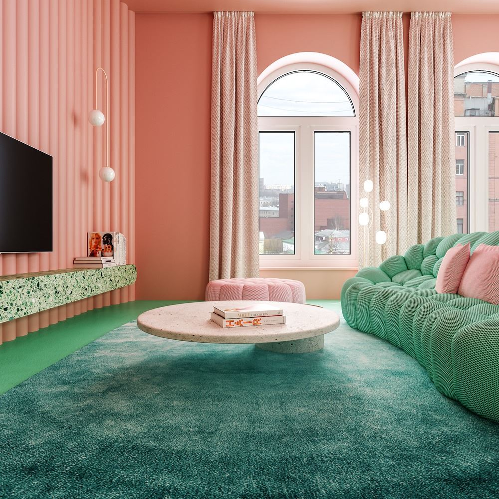 Modern pink and green interior