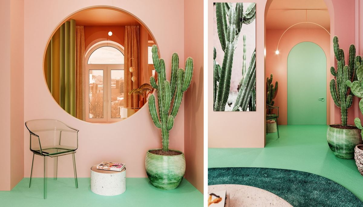 Pink and green entrance hall