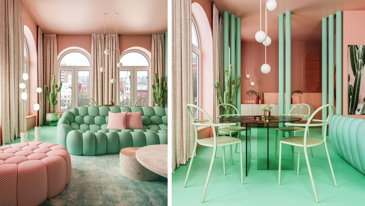 Pink and green living space