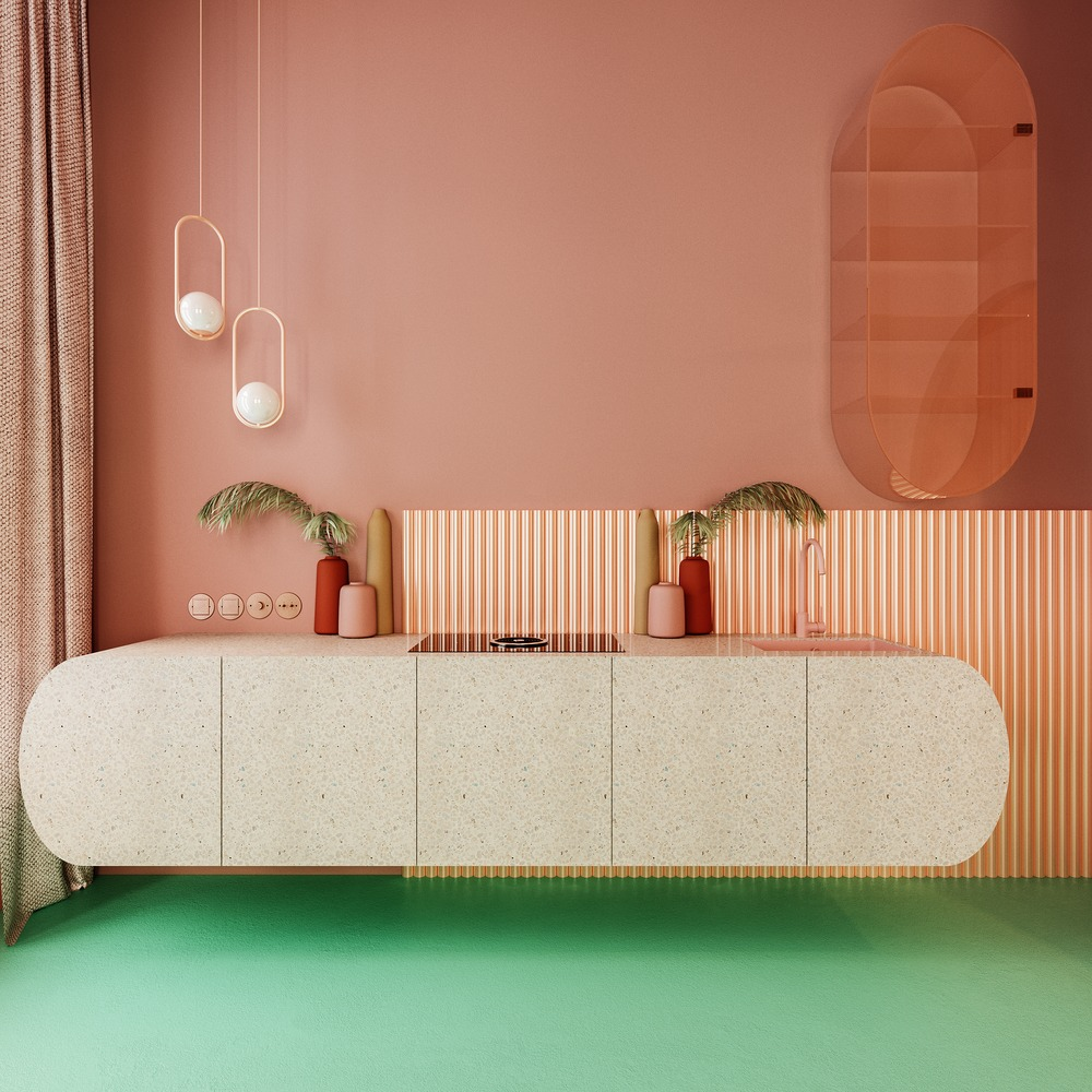 Unique pink kitchen