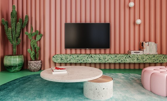 Unique Pink and Green Interior in a New York Apartment