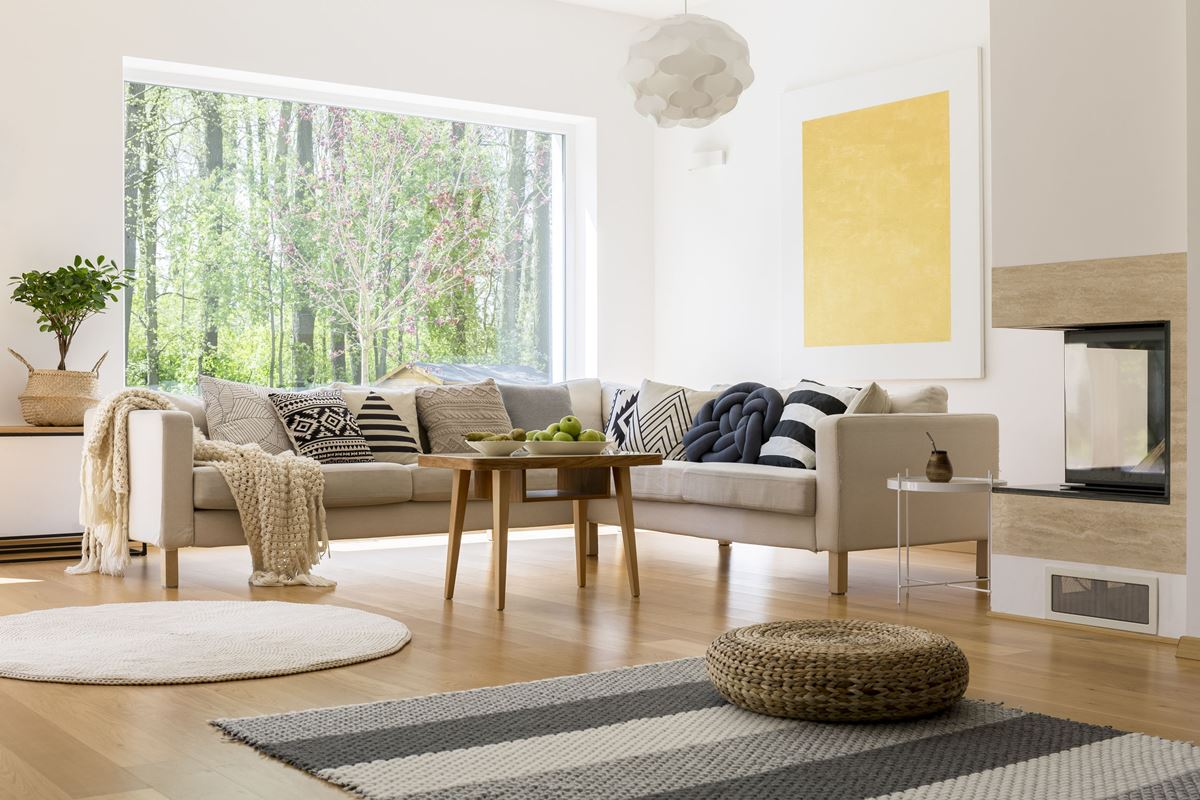 Living room with hardwood floors and carpet